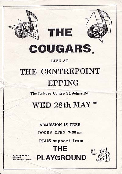 flier for The Cougars Gig at Epping
