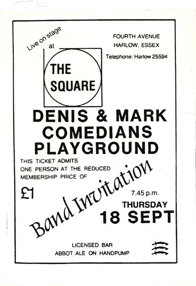 ticket for supporting gig at The Square